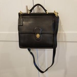 9927 Vintage Black Coach Willis Crossbody Bag